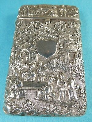 Stunning Chinese Sterling Silver Cigarette Case Buildings Figures Bamboo Birds