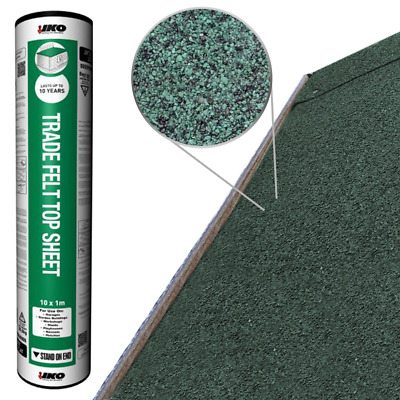 IKO Trade Top Sheet | Green 10m x 1m | Garden Roofing Shed Felt Bitumen Roof