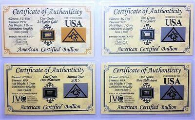 1/15 Gram .999 Fine - Gold - Silver - Platinum - Palladium - in COA Cards
