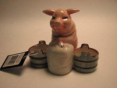 Vintage Style Pig Mustard Pot / Spoon Stoneware 1940's reproduction -New