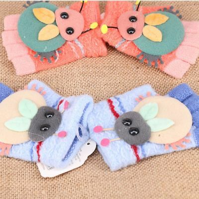 Fashion Thicken Gloves Winter Warm Boys Girls Knit Gloves Half-finger Cartoon