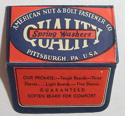 Vintage USA Razor Blade QUALITY SPRING WASHERS Advertising