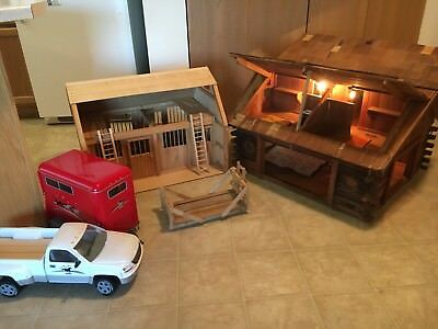 Breyer Barn, Log house, Truck & Trailer For Model Horses & Breyer Rider Doll