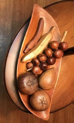 Vintage Carved Wood Leaf Dish Bowl/plate Fruit Set