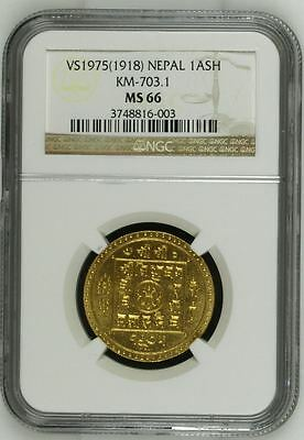 VS1975(1918) Nepal Gold Ashraphi Tola KM-703.1 NGC MS 66 #1 Top Pop