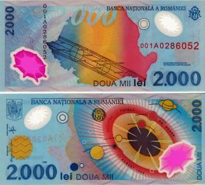 Romania 2.000 Lei Polymer UNC Banknote