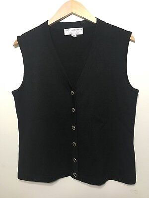 St John Collection Marie Gray SANTANA KNIT VEST Gold Buttons Black Size M Medium