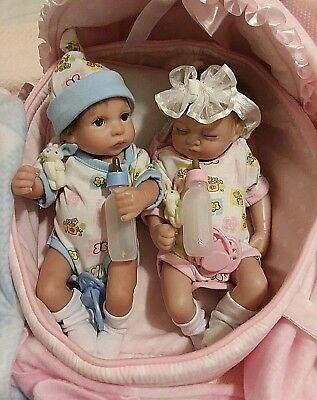 "11 ""Tiny  Micro Preemie  Reborn Twins W/ Bed   Heart Pacifiers  And Hair"