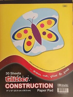 New - A4 Glitter Construction Paper - 30 Sheets - 6 Colours