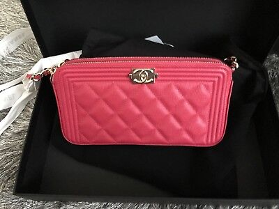 82ee86023030 Nwt Auth Chanel Boy Woc Double Zip Caviar Pink Clutch Wallet On Chain