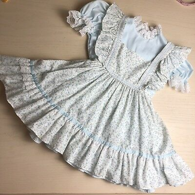 Vintage Bryan 4T Dress And Pinafore Set Blue Floral Twirly Easter