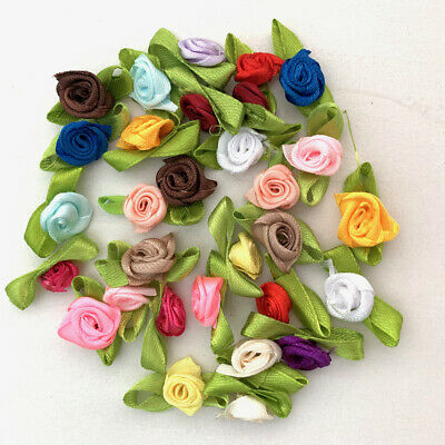 30pc Satin Ribbon Flowers Rose mixed leaf bow craft embellishment sewing #880