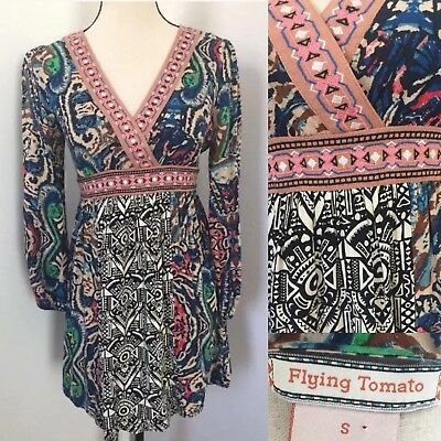 a40f754133e Flying Tomato Dress Small Tunic Embroidered Geometric Tribal Multicolor