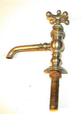 Antique Peck Bros. Nickel Plated Brass Sink Faucet As Found Victorian Ornate B