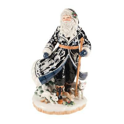 Fitz and Floyd Bristol Holiday Santa Figurine Large Blue and White  New In Box