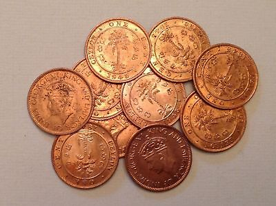 - Lot of 10 - British Ceylon 1945 Cents George VI Uncirculated Unc - Sale Priced