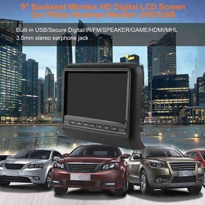 "9"" Universal Car Headrest DVD Player 800 x 480 LCD Screen Backseat Monitor USBQV"