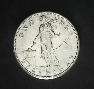 PHILIPPINES 1908-S  1 Peso Silver Crown ( Nice Coin, AU )