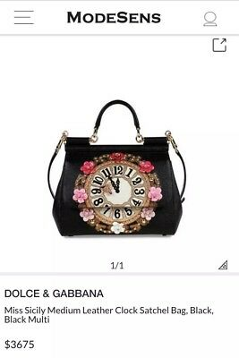 NEW DOLCE   Gabbana Miss Sicily Medium Leather Clock Satchel Bag ... f239da1eb8