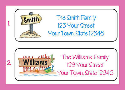 BEACH Sign Family Name Personalized Return Address Labels, Beach House Address