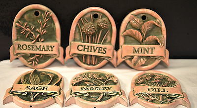 "Vintage Set Of 6 Wall Hanging Spice Plaques 3 1/4"" X 2 3/4"" X3/8"" (Osb-65 )"