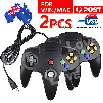2X New For NINTENDO 64 N64 GAMES CLASSIC GAMEPAD CONTROLLERS FOR USB TO PC / MAC