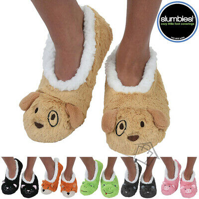 NEW Slumbies Fur Animals 2 Soft Slippers Socks Non-slip Grip Soles - 2018