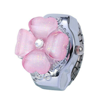 Lady Gift Girls Steel Women Hot Quartz Watch Ring Round Dial Flower