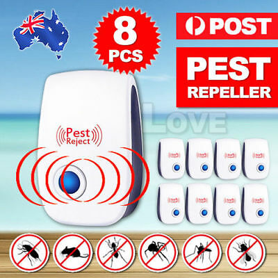 8X Pest Repeller Ultrasonic Electronic Mouse Rat Mosquito Insect Rodent Control