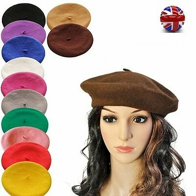 802ad74b Plain Beret Hat 100% Wool French Beret Winter Autumn Women Girls Hats