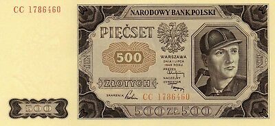 POLAND Europe 500 Zlotych UNC 1948 p-71 larger sized note