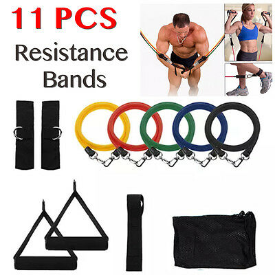 AU 11PCS Power Heavy RESISTANCE BAND Yoga Tension Rope Abs Gym Door LOOP Fitness