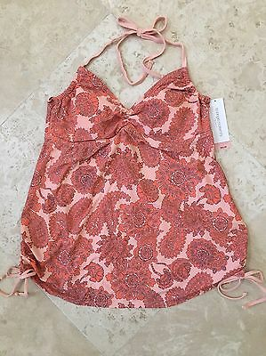 NEW Women's Liz Lange Maternity Swim Tankini Top Peach Print - Size XL