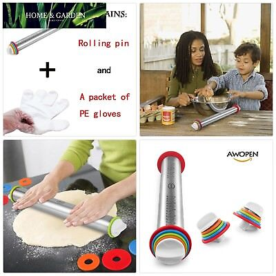 Large Heavy Duty Rolling Pin Made by Stainless Steel Metal, 15 inch, with Adjust