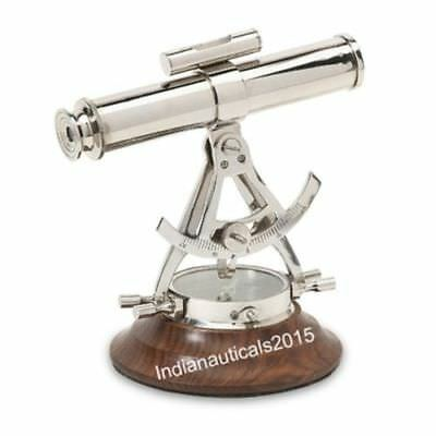 Nautical Alidate Telescope With Compass Nautical Chrome Collectible Good Gift