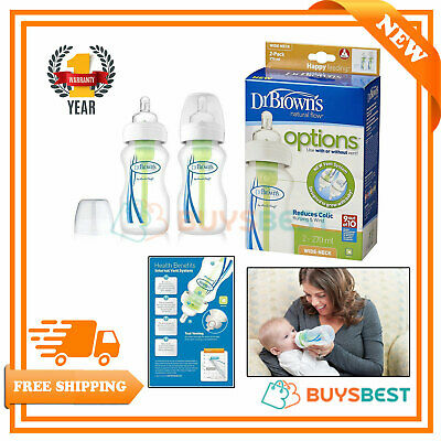 2 X Dr Brown's Baby Feeding Bottles Wide Neck Options Anti-Colic 270 ml WB92005