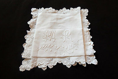 Vintage French Pillow Case Euro Sham Fine Linen Exceptional Hand Embroidery