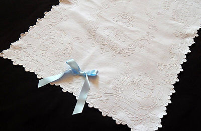 Vintage French Baby Coverlet for Crib, Cradle or Christening