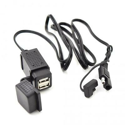 3.1A Motorcycle SAE Cable Dual USB Adapter Waterproof Charger Socket 12V-24V