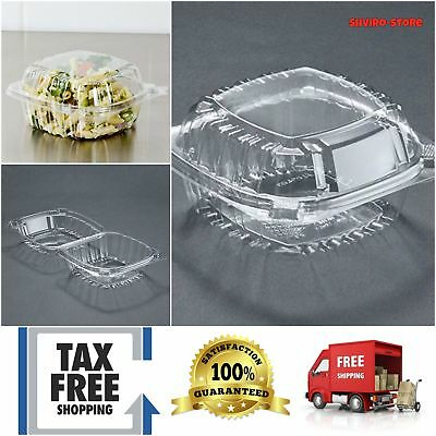 Food Container Small Clear Plastic Hinged Sandwich Salad Party Favor Cake 50 Pcs
