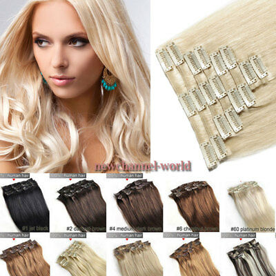 UK 120G CLEARANCE Clip in Human Hair Extensions Full Head 100% Real Remy Hair L9