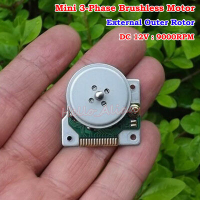 DC 5V-12V 9000RPM Micro DC Brushless Motor 3-Phase External Outer Rotor CD-ROM