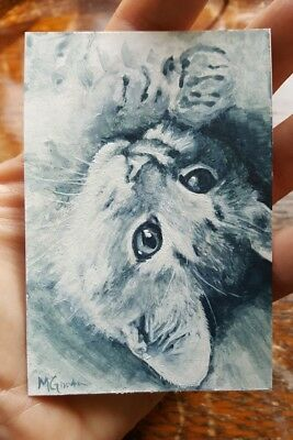 ACEO Original Grey Tabby Cat Kitten Portrait Watercolor Painting Art M Gordon