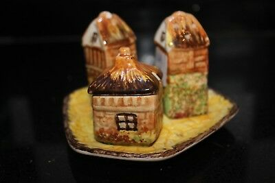 price brothers cottage ware,  cruet set, salt, pepper/ mustard all on a stand