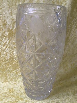 Stourbridge Tudor Crystal Cut Glass Hand Engraved Vase ROSES by Jack Lloyd