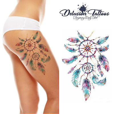 Realistic Temporary Tattoo - Dream Catcher, Pink, Purple  - Womans, Girls, Kids