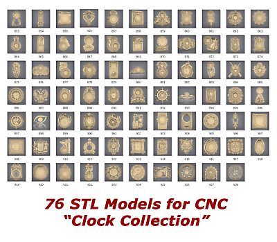 "76 3d STL Models ""Clock Collection"" for CNC artcam 3d printer aspire"
