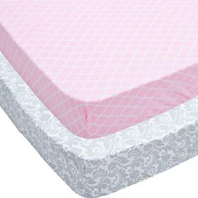 Crib Sheets, 2 Pack Pink Quatrefoil Floral Fitted Soft Jersey Cotton Cover