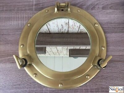 "11"" Antique Brass Finish Porthole Mirror ~ Nautical Maritime Wall Decor ~ Window"