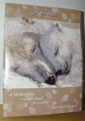 "POLAR BEARS Mother and Cub Cuddle Soft Cover Address Book Birthdays 5"" x 7"" NEW"
